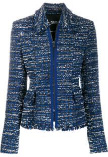 Karl Lagerfeld Tweed Boucle Jacket - Azul