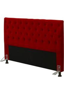 Cabeceira Cama Box Casal Queen 160Cm Cristal Suede Vermelho - Js Móvei