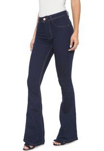e912a9934 ... Calça Jeans Biotipo Flare Pespontos Azul-Marinho