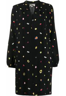 Dvf Diane Von Furstenberg Vestido Reto Com Estampa De Poás Abstrata - Preto