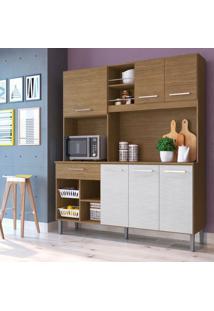 Cozinha Compacta Liz 6 Pt 1 Gv Castanho E Off White
