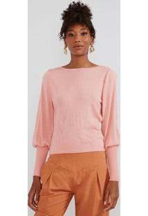 Blusa Tricot Maxi Punho Rosé