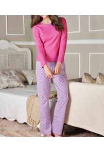 Pijama Longo Floral Demillus (85104) 100% Algodão