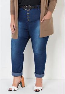 Calça Jeans Plus Size Com Botões Jeans Azul