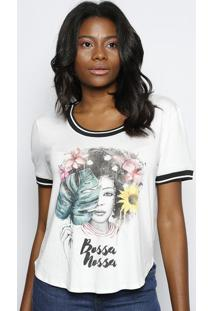 "Camiseta ""Bossa Nossa"" - Off White & Preta - Coca-Cococa-Cola"