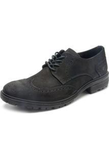 Sapato Couro Ellus Brogue Preto