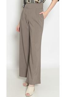 Calça Pantalona Listrada- Marrom- Operateoperate