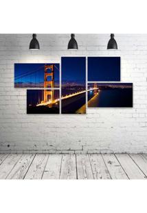 Quadro Decorativo - Golden-Gate-Night - Composto De 5 Quadros - Multicolorido - Dafiti