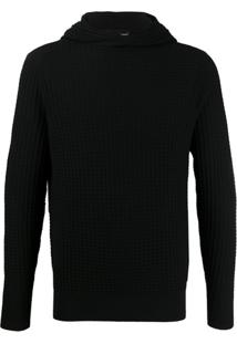 Emporio Armani Hooded Knit Jumper - Preto