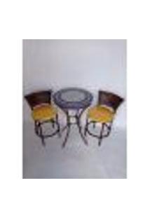 Conjunto De Mesa E Cadeira Mosaico Gourmet Azul E Branco