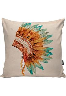 Capa De Almofada Indian Headdress- Bege & Laranja- 4Stm Home