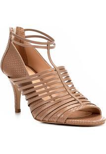 Sandália Shoestock Salto Fino Cobra Feminina - Feminino-Nude