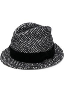 Dolce & Gabbana Striped Trilby Hat - Preto