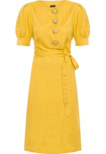Vestido Feminino Midi Faixa - Amarelo