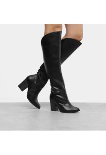 Bota Over The Knee Cano Alto Ramarim Salto Grosso Feminina - Feminino-Preto