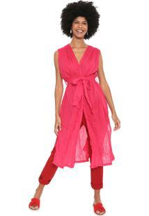 Vestido Cantão Midi Túnica Rosa