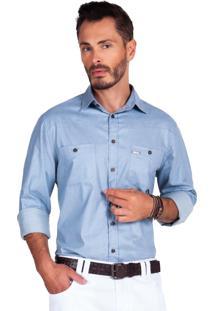 Camisa Olimpo Camisaria Jeans Com Bolsos Manga Longa Azul