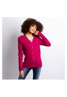 Cardigan Tricot Feminino Liso Com Botões Pink