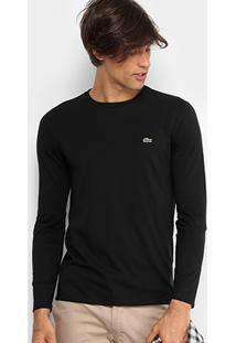 Camiseta Lacoste Básica Manga Longa Masculina - Masculino-Preto