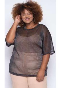 Camiseta Almaria Plus Size Alt Brand Lux Preta/Prata Preto