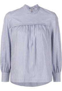 Tory Burch Striped Bow Blouse - Azul