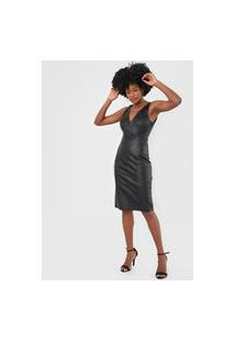 Vestido Lança Perfume Midi Resinado Preto