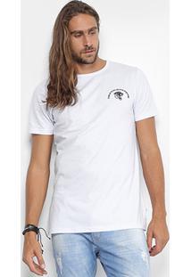 Camiseta Local Gola Careca Estampa Tigre Masculina - Masculino-Branco