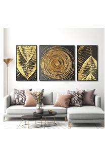 Quadro Com Moldura Chanfrada Abstrato Preto Com Dourado Grande