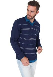 Suéter G'Dom Azul Listras Horizontais