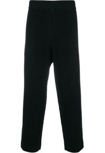Homme Plissé Issey Miyake Cropped Ribbed Trousers - Preto