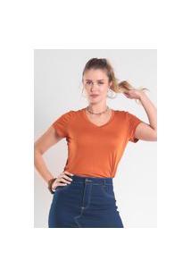 T-Shirt Ts0001 Decote V Slim Traymon Terracota