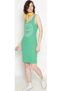 Vestido Canelado ''Zoomp''- Verde Branco- Zoompzoomp