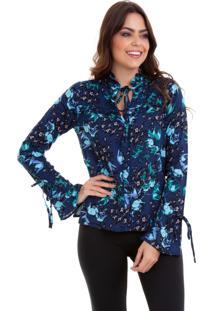 Camisa Viscose Kinara Estampada Gola Babadinho De Amarrar Azul-Marinho