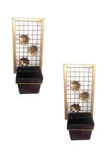 2 Floreiras De Parde C/ Suporte De Ferro E Vaso De Cerâmica Preto Decorativo - Arte Tempo