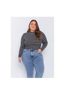 Cropped Plus Size Feminino Kaliska Listrado