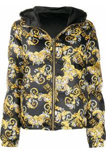 Versace Jeans Couture Jaqueta Matelassê Com Estampa Barroca - Preto