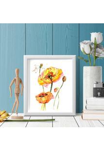 Quadro Decorativo Com Moldura Yellow Flower Branco - 30X40Cm - Multicolorido - Dafiti
