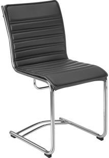 Cadeira Office Secretária Com Base Fixa Havenna Movelfar - Pvc Preto - Multistock
