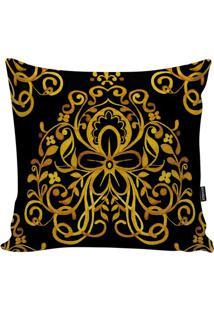 Capa De Almofada Turkish- Preta & Dourada- 45X45Cm