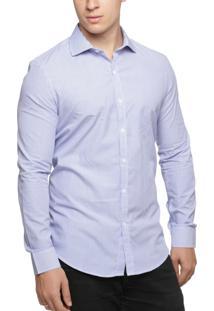 Camisa Alfaiataria Burguesia Risca Azul 100% Algodão