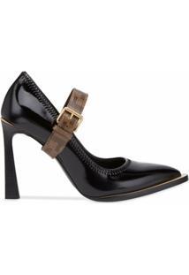 Fendi Sapato Mary Jane Fframe - Preto