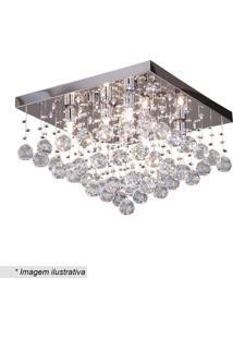 Plafon Quadrado- Cristal & Prateado- 28X40X40Cm-Hevvy