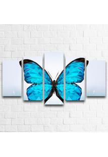 Quadro Decorativo Borboleta Abstrato Azul