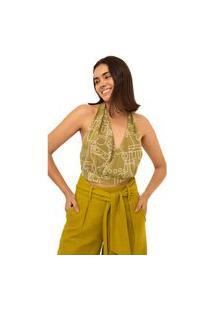 Blusa Leboh Frente Unica Cavada Amarração Costas Verde