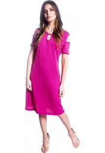 Vestido Carbella Decote Malha Favo Pink