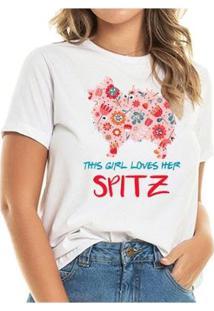 T-Shirt Loves Spitz Flowers Feminina - Feminino-Branco
