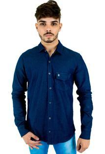 Camisa Jeans Blitz Manga Longa Slim Com Lycra Azul