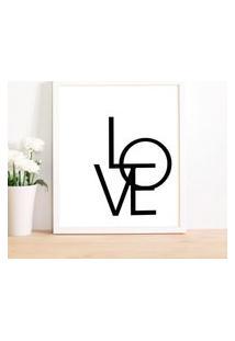 Quadro Decorativo Com Moldura Love Branco - 20X25Cm