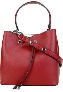 Bolsa Ellus Saco Bucket Bag Monograma Feminina - Feminino-Vermelho