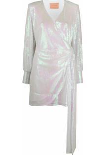 Andamane Vestido Com Aplicação De Paetês - Branco